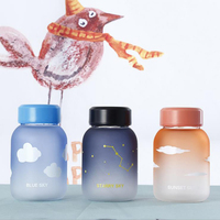 Creative Colorful Frosted Glass Water Bottle Cute Animal Ice Bottles Cartoon Camping Sport Bottle Tour Drinkware
