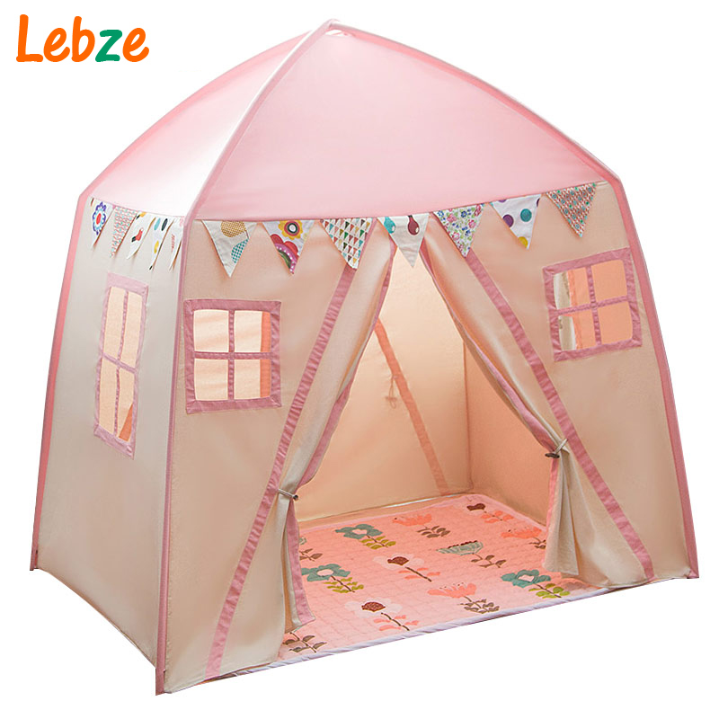 Rectangle Yurt Kids Tent Fiber Shelves Children Teepee With 2 Doors Toddler Play Tent Cotton Canvas Play House for Baby Room