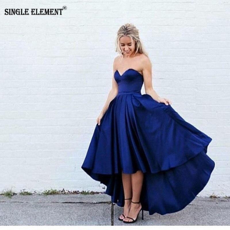 SINGLE ELEMENT Royal Blue Hi-Low 2019 Taffeta   Prom     Dresses