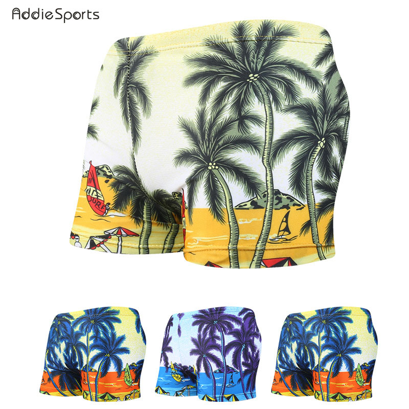 Summer Mens swimming trunks 2018 New arrival Beach swimming shorts Coconut printing Obesity shorts A18148