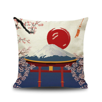 Decor Linen Japanese Fuji Mountain Ukiyo Style Retro Pillow Cover Cushion Cover for Sofa Home Decoration Pillowcase 45x45cm