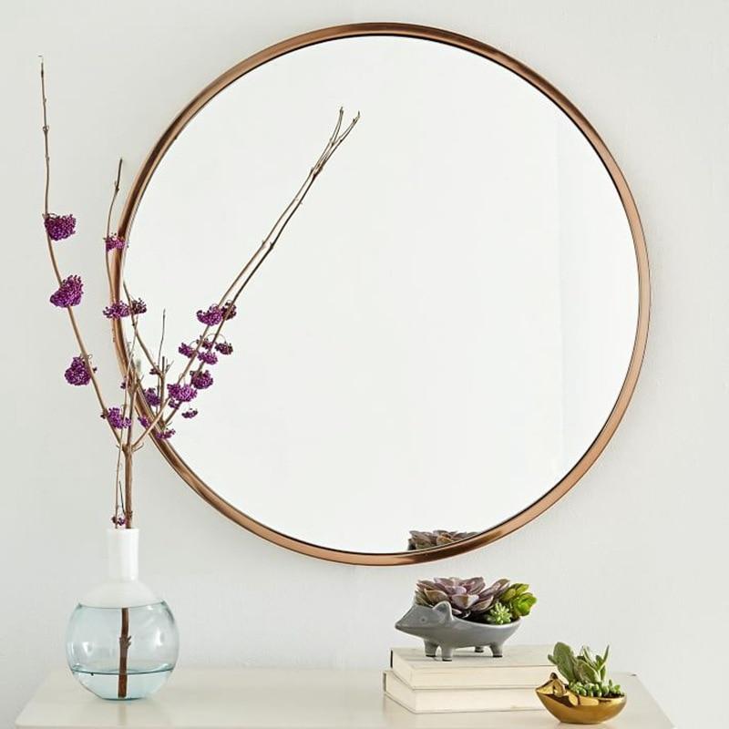 Retro Simple Metal Round Bathroom Mirror Wall Mounted Home Bedroom Mirror Dressing Table Decoration Makeup Mirror Mx3011118