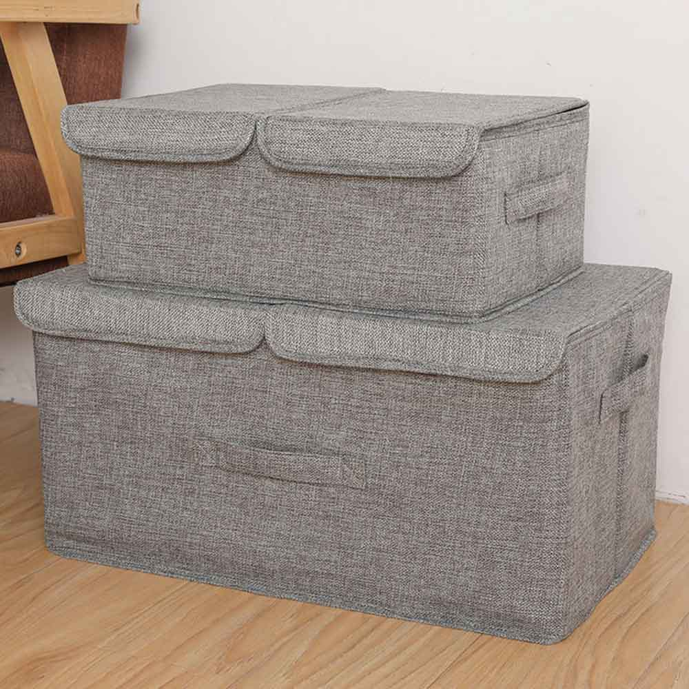 Storage-Boxes Baskets Containers-Bins Organizer Double-Cover Polyester-Fabric With Lids