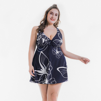 Plus Size Swimwear Female One Pieces Skirt Swimsuit Big Women Swimsuit Butterfly Print Ladies Beach Wear Two Pieces Bathing Suit