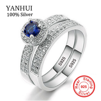 Promotion YANHUI Real 925 Sterling Silver Ring Set Sapphire Blue Zircon Band Two Engagement Ring Wedding
