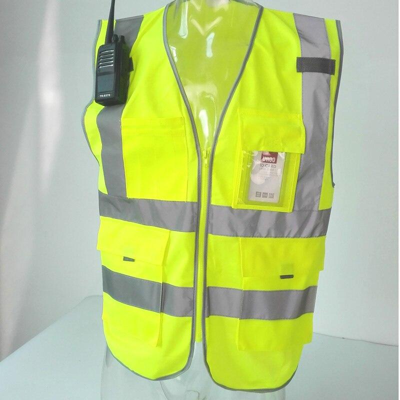 Alta visibilidad advertencia chaleco fluorescente reflectante ropa de seguridad Chaleco con cremallera bolsillo de la chaqueta de la motocicleta