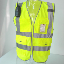 High visibility warning waistcoat fluorescent workwear reflective safety vest with zipper pocket Motorcycle jacket