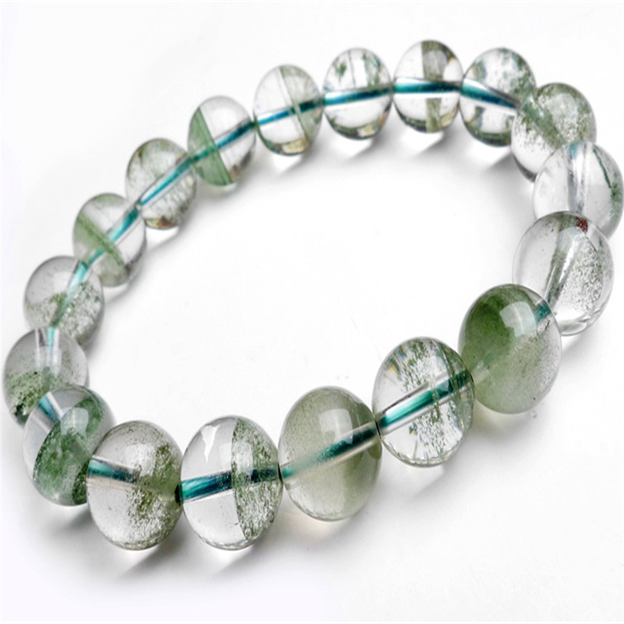 11mm Genuine Natural Green Phantom Quartz Ash Crystal Clear Round Beads Jewelry Women Stretch Charm Bracelet natural green phantom crystal 10mm semi everlast crystal beads diy bracelets 40 cm string