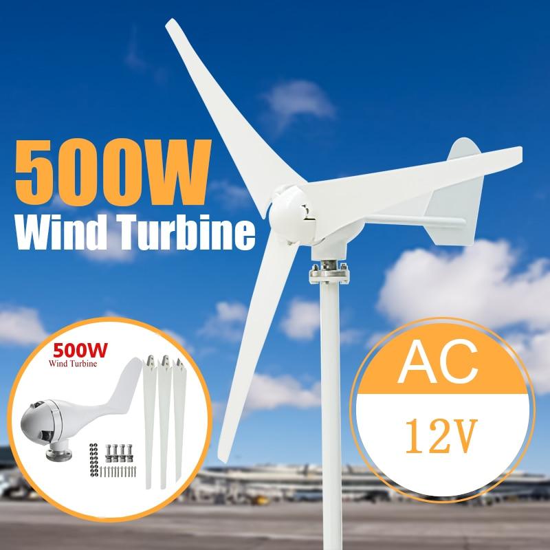 Max 500W Power 3 Blades Wind Turbine Generator Kit AC 12/24V Waterproof Generator