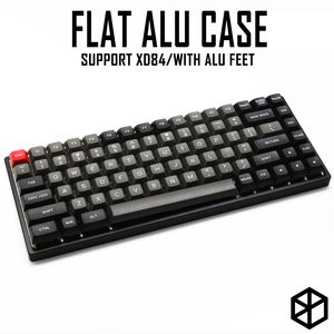 Image 1 - Anodized Aluminium flat case with metal feet for custom mechanical keyboard black siver grey colorway for xd84 75%