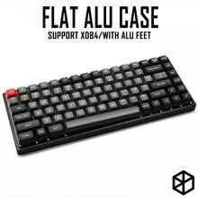 Boîtier plat en Aluminium anodisé avec pieds en métal pour clavier mécanique personnalisé coloris gris argenté noir pour xd84 75%