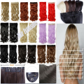 Best Selling Womens Girls Pretty 24''3/4 clip in hair extensions Full  head black brown blonde auburn red  18 color Super sale