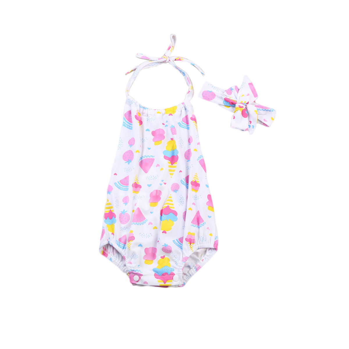 Newborn Toddler Infant Baby Girl Ice Cream Bodysuit Jumpsuit Sleeveless Sunsuit Outfit Clothes 0-24M