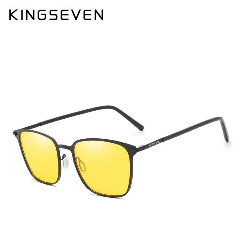 Kingsevenナイトビジョンメガネブランドデザイン偏光サングラス女性男性運転アンチグレアゴーグル黄レンズメガネ
