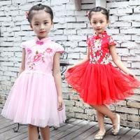 New 2017 Summer Girls Dress Chinese Cheongsam Embroidered Flowers Dresses Kids White Gauze Children Princess Dress