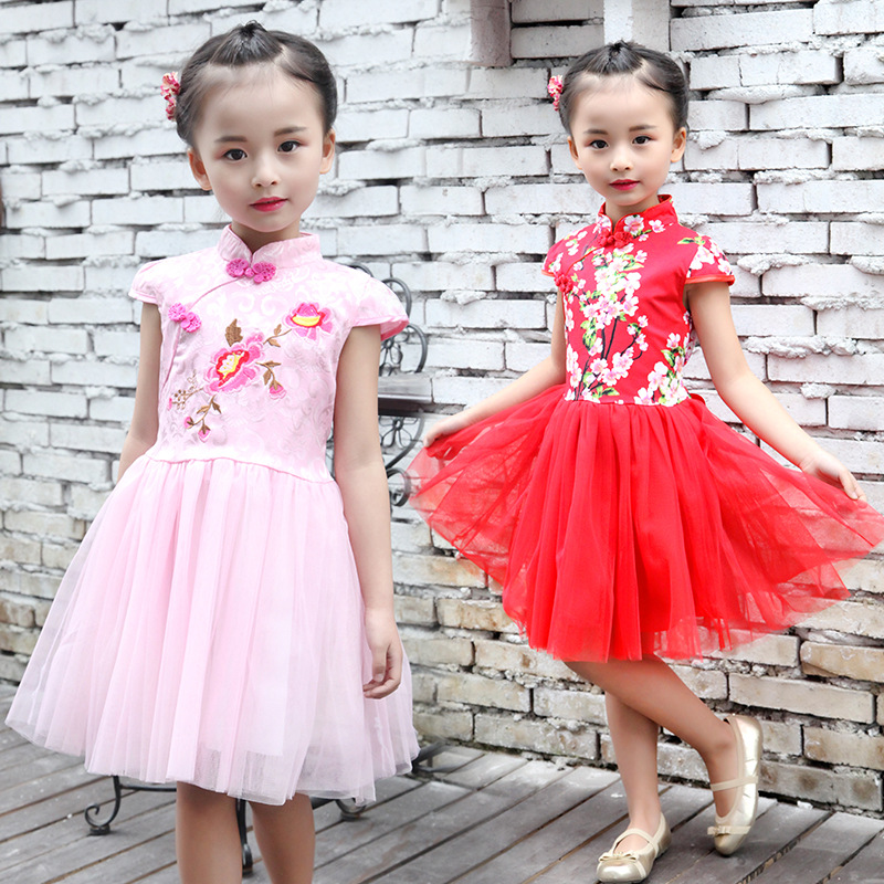 New 2017 summer girls dress Chinese cheongsam embroidered flowers dresses kids white gauze children princess dress baby costumes