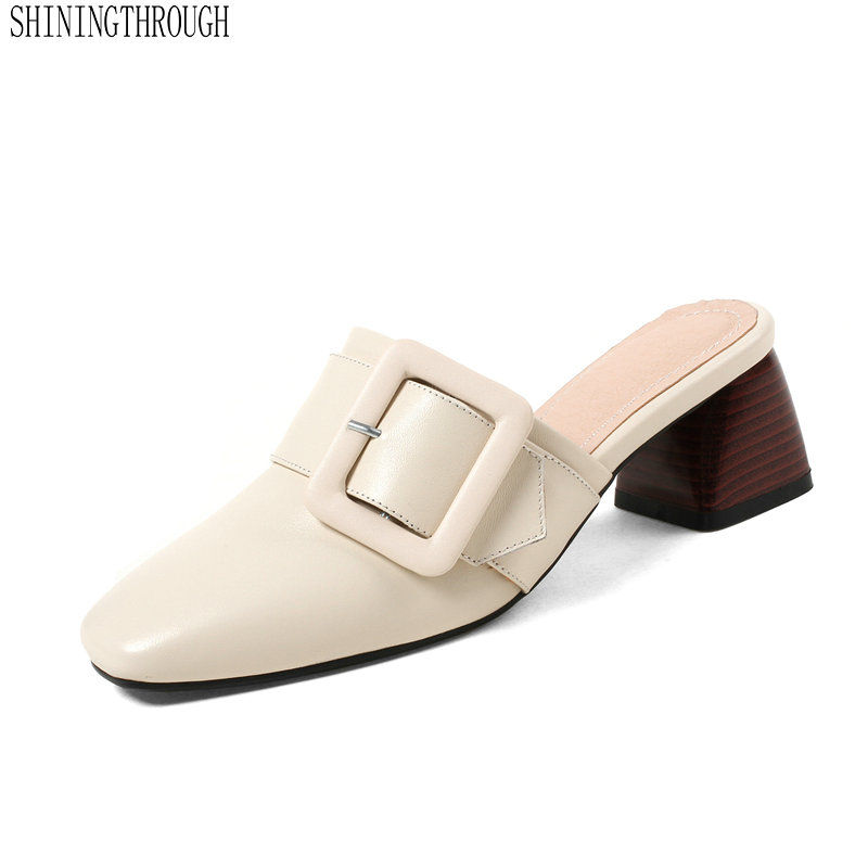 Cow Leather Women Slippers Fashion Metal Belt Buckled European Designer High Quality Mules Shoes woman