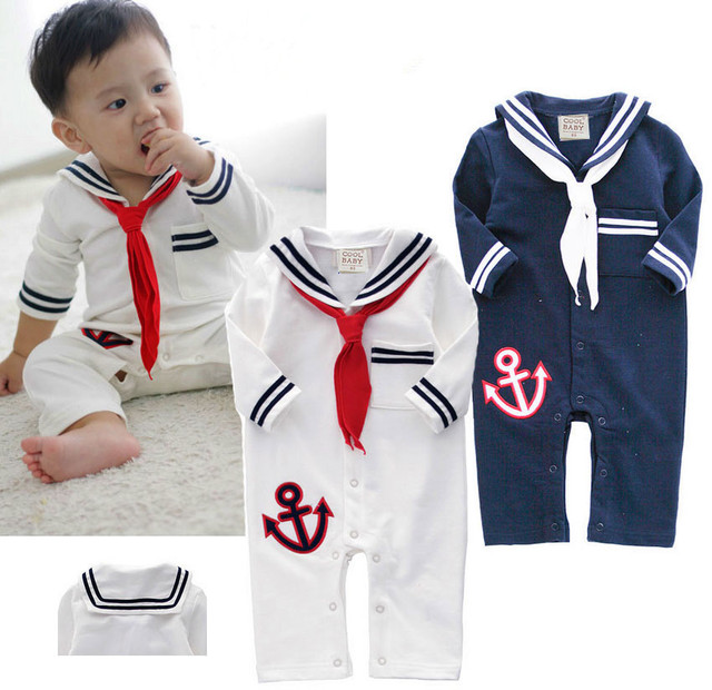 Baby sailor costume anchor romper navy costumes for infants toddler white cotton long sleeve jumpsuit Halloween costume baby