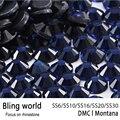 Tamanho Mix Glitter Rodada Flatback Montana DMC HotFix Strass para Roupas Decoração Da Arte Do Prego diy