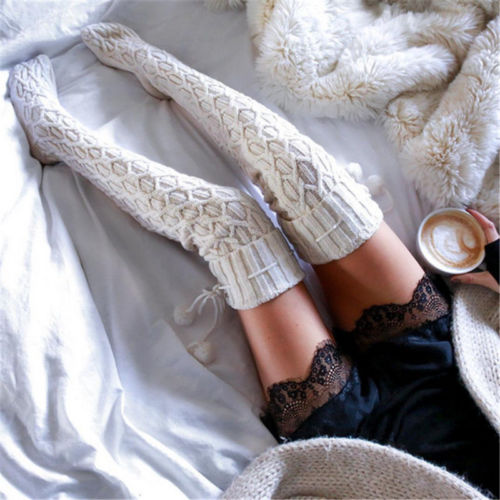 c28f7bf7a56 Women Winter Leg Warmers Cable Knit Extra Long Stockings Over Knee Thigh  High School Cotton Stocking