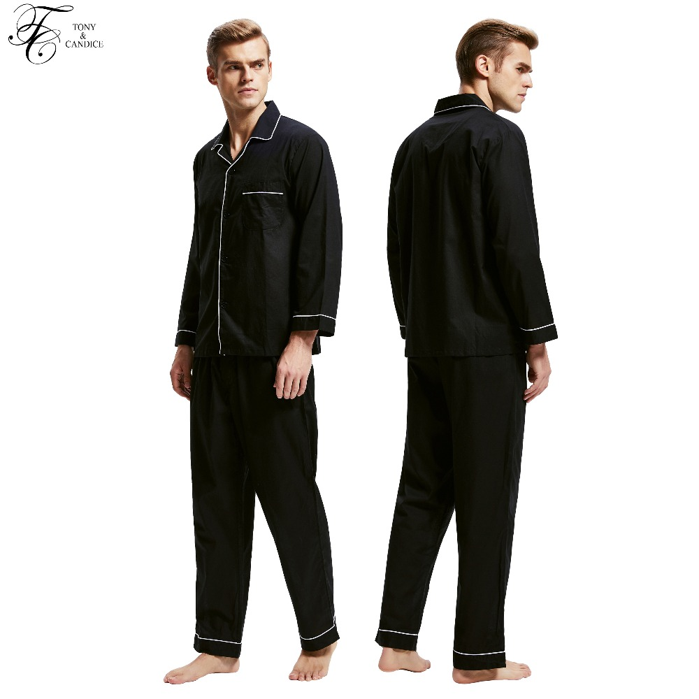 Tony&Candice Pajamas Men Sleepwear 100% Cotton Men's Nightwear Long Sleeve Sleep Lounge Casual Male Nightgown Soft Pyjama Set