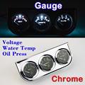 Chrome Holder (Voltage + Water Temperature + Oil Press) Gauge Car Meter 3 In 1 Kit Triple Dashboard Free Shipping