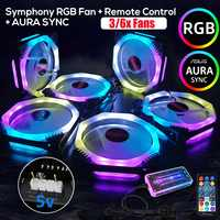 3/6pcs 120mm Cooler Fan Cooling Symphony Aura SYNC RGB PC Fan Cooling Fan For Computer Silent Gaming Case Music Remote Control