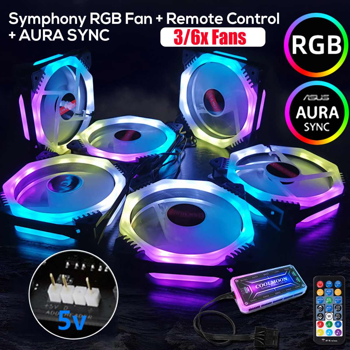 3/6pcs <font><b>120mm</b></font> Cooler <font><b>Fan</b></font> <font><b>Cooling</b></font> Symphony Aura SYNC RGB PC <font><b>Fan</b></font> <font><b>Cooling</b></font> <font><b>Fan</b></font> For Computer <font><b>Silent</b></font> Gaming Case Music Remote Control image