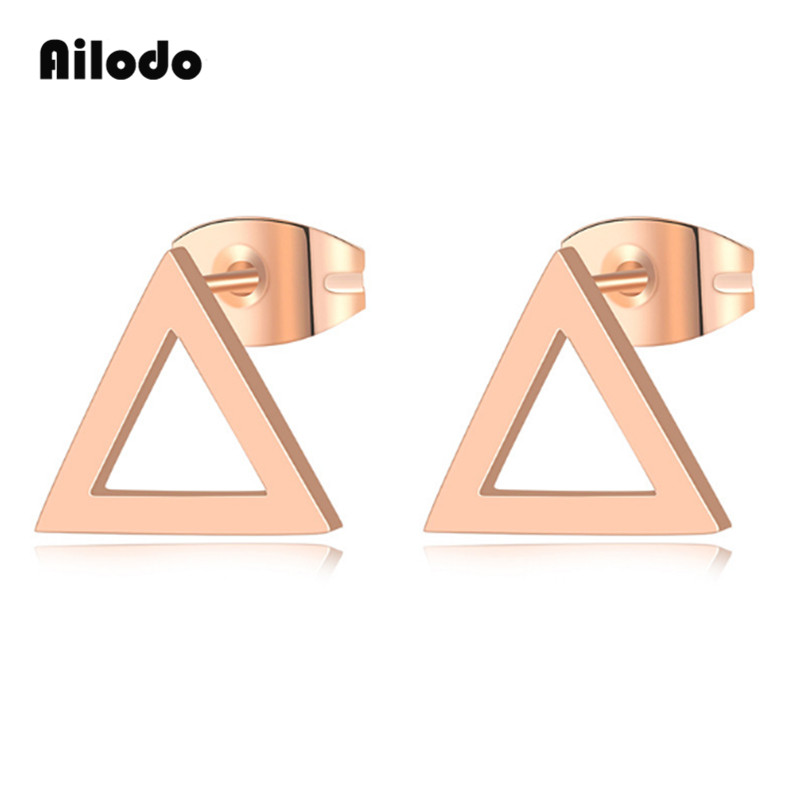 Ailodo Fashion Triangle Stud Earrings For Women Personality Rose Gold Color Titanium Steel Party Wedding Jewelry LD050