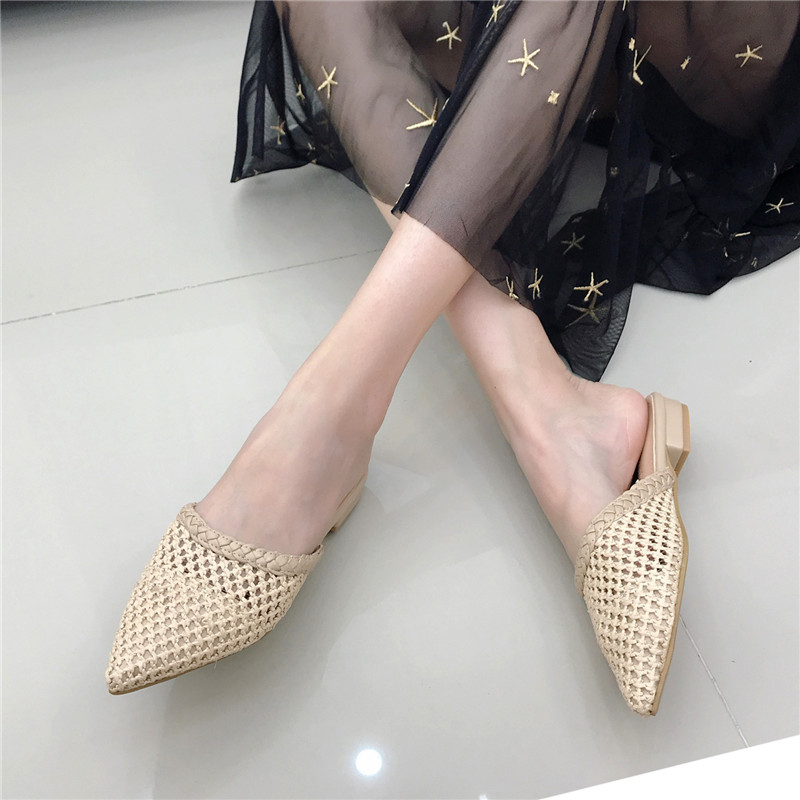 Women's Pointed Low Heel Slippers NIUFUNI Summer Cane Woven Rattan Grass Sandals Beach Shoes Women's Slippers Flat Shoes Slides 4