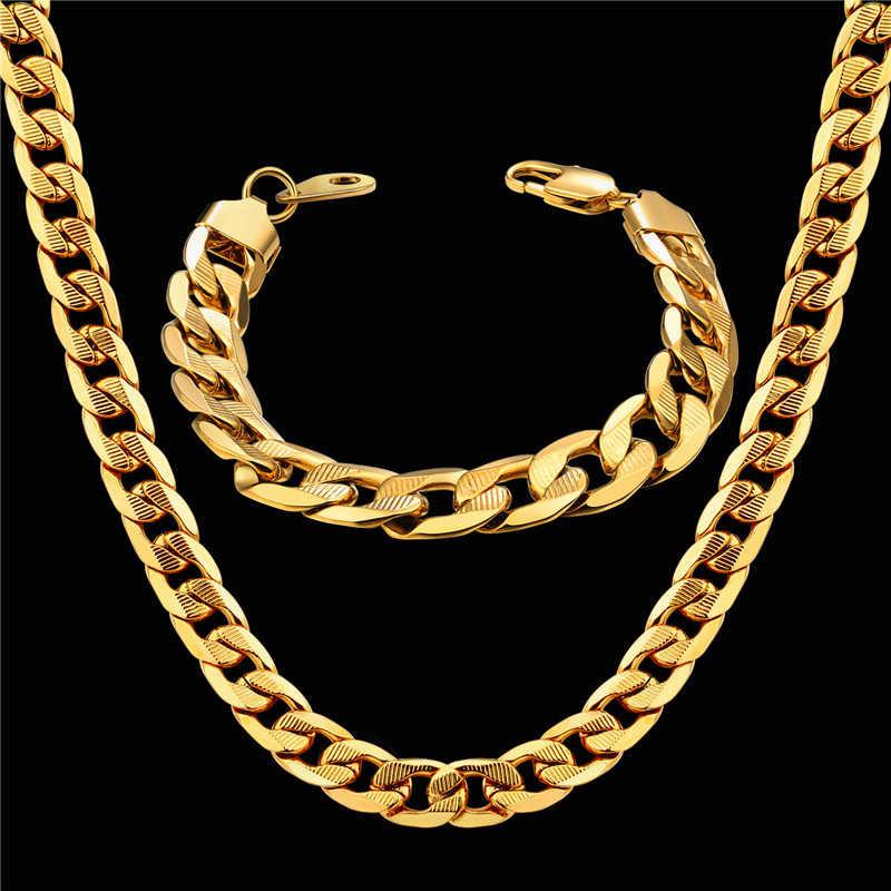 Degli uomini delle Donne Dubai Set di Gioielli di Colore Dell'oro Dell'acciaio inossidabile del Braccialetto Della Collana Set Hiphop Curb Cubano di Spessore Catena Dei Monili del Commercio All'ingrosso