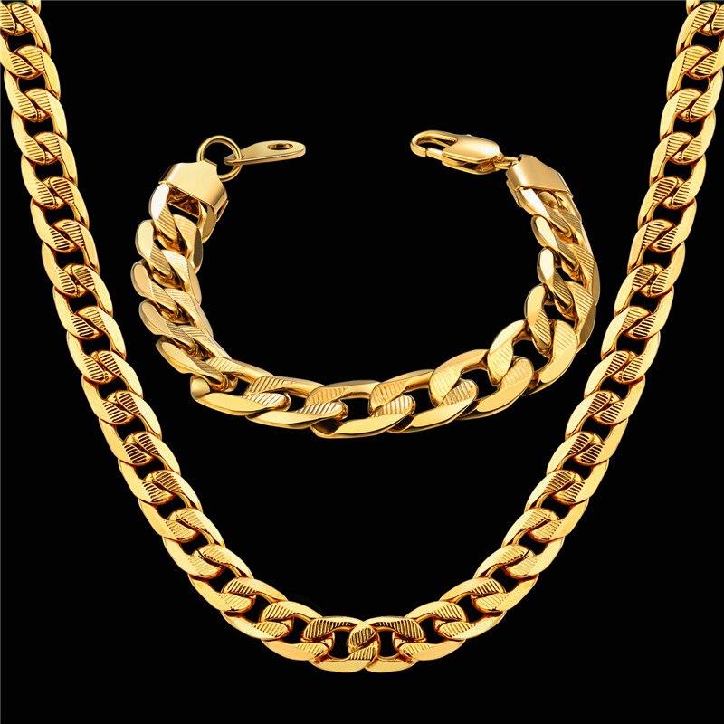 Plaqué Or Cubain Lien Chaîne en Acier Inoxydable 14 mm Bracelet pour les femmes
