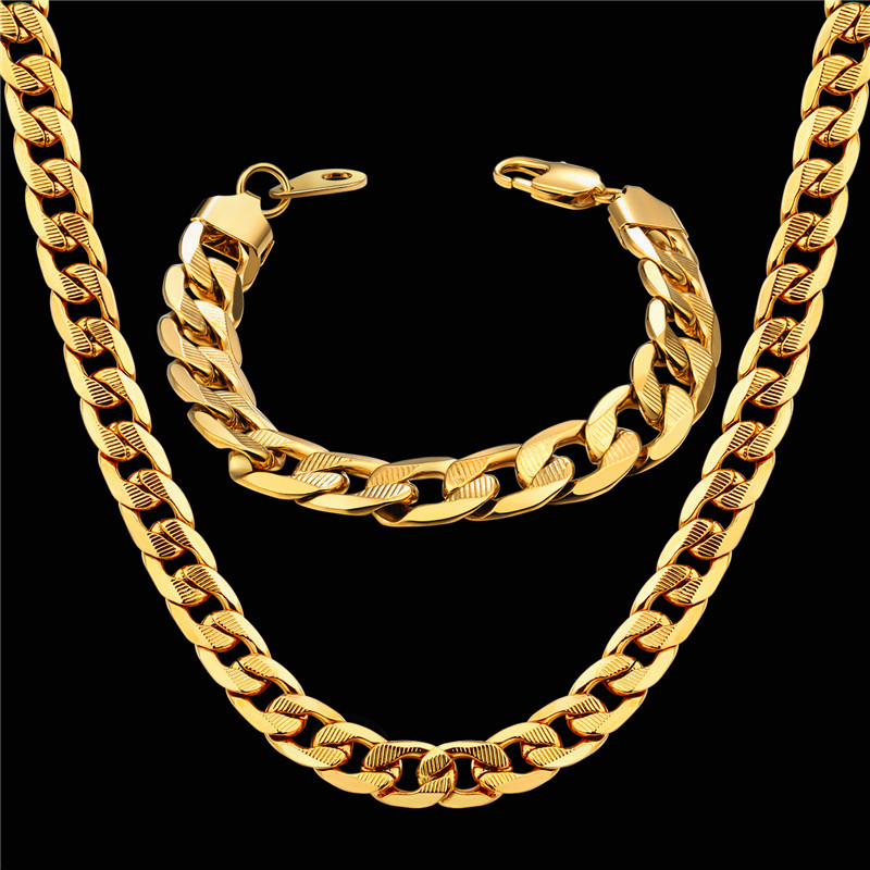 Men Women's Dubai Jewelry Sets Gold Color Stainless Steel Necklace Bracelet Set Hiphop Curb Cuban Thick Chain Wholesale Jewelry