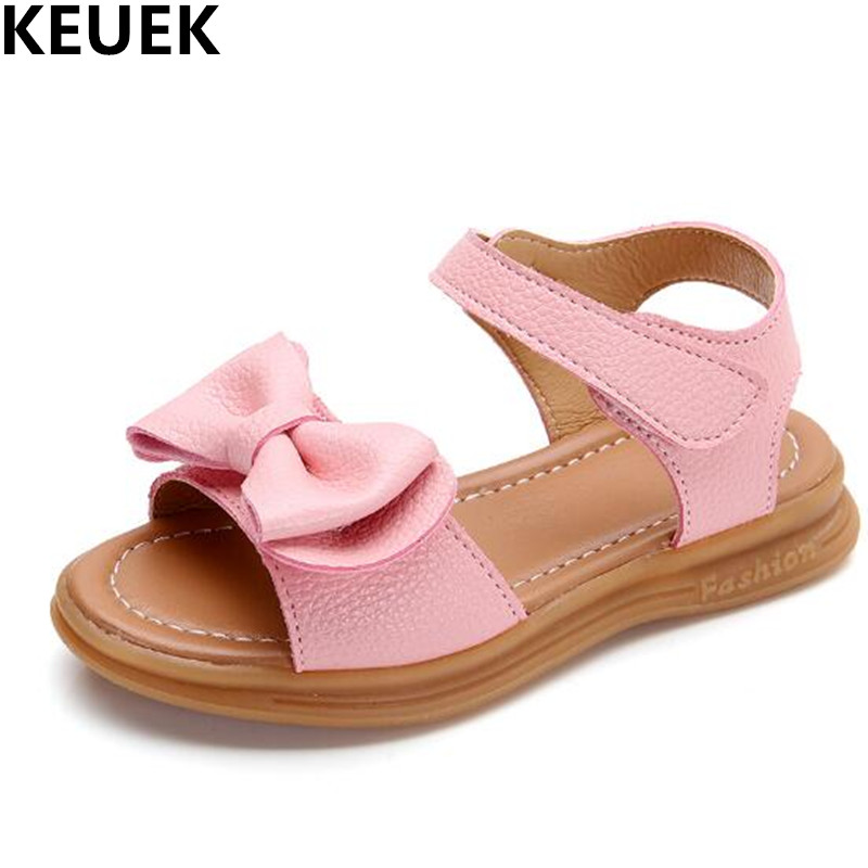 Summer Baby Girls Child Toddler Kids Peep Toe Sandals Princess Bow Flat Sandals