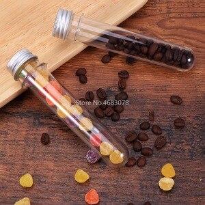 Image 2 - 50 stücke 30ml Ausgezeichnete Kunststoff Transparent Test Rohre Mit Aluminium Kappe Flaschen 25x140mm Schule Liefert Labor ausrüstungen