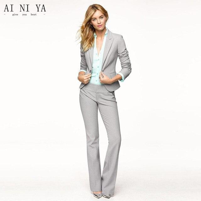 Light Gray Women Pants Suits Blazer Business Work Wear Uniforms