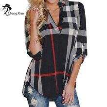 ChongXiao Женщины Свободные Случайные Плед Шотландка Проверьте Блузка Плед V Шеи Рубашка Топы Женские Летние Рубашки Женщин Рубашки Женщины Топы