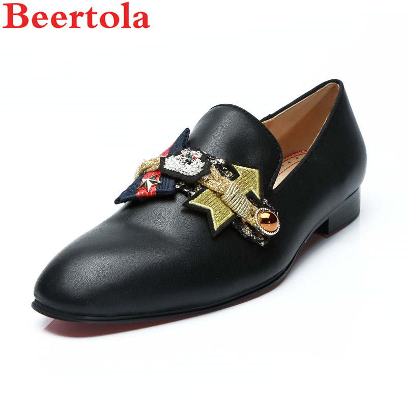 Men's Casual Shoes Beertola Real Leather Mens Casual Shoes Embroiderd Gorgeous Fireworks Crystal Metal Decoration Slip On Loafers Handmade Shoes High Quality Goods