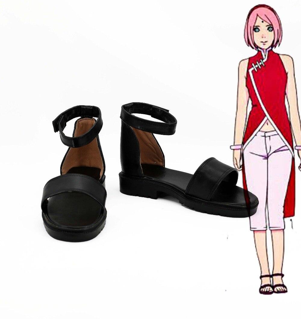 Amine font b NARUTO b font Haruno Sakura font b Cosplay b font Shoes Boots For