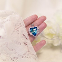 Cdyle Crystals from Swarovski Necklaces Zircon Fashion Jewelry for Women Pendant 2018 Blue Rhinestone Luxury Set Heart Statement 3