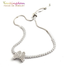 Yunkingdom silver color butterfly design font b bracelets b font for women full inlay zircon crystal