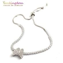 Yunkingdom silver color butterfly design bracelets for women full inlay zircon crystal charms bracelet K1805