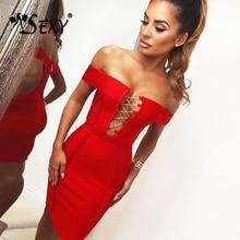Women's Off The Shoulder Bandage Dress Sexy Lace Up Mini Club Sheath Slash Neck