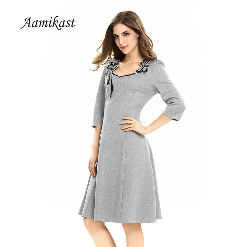 Aliexpress.com   Buy Aamikast Women Sexy Vintage Embroidery Solid Dresses  2019 Autumn Elegant A Line Vestidos Evening Party Bodycon Dress S0623 from  ... 3663b8603540
