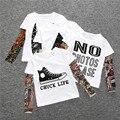 INS primavera outono Letras tigre padrão patchwork Camisola Do Hoodie das crianças menino encabeça 7 projeto do bebê do Algodão T-shirt da luva cheia
