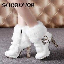 2016 Зимние Меховые Сапоги женские Плюшевые Теплые Ботинки Лодыжки Платформы обуви стороны молнии пряжки Женщина На Высоких Каблуках моды Обувь Черный белый(China (Mainland))