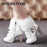 2016 Winter Fur Boots Women S Plush Warm Platform Ankle Boots Shoe Side Zipper Buckle Woman