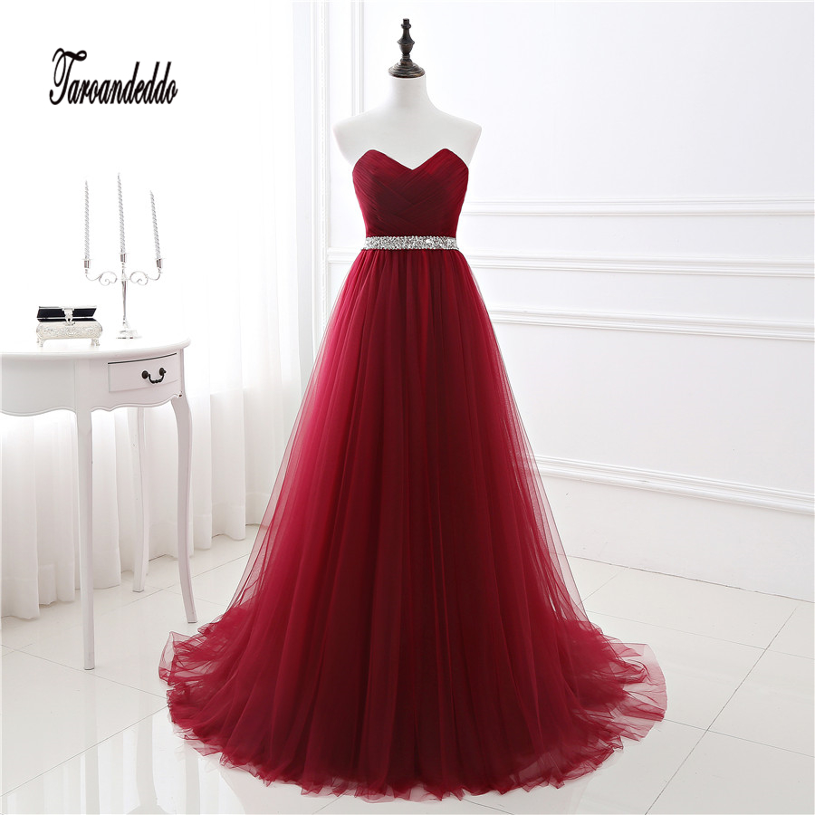 In Stock Strapless Beading Sash Red Crisscross Ruched Bodice Tulle A-line Prom Dress Lace Up Evening Dress vestido de festa
