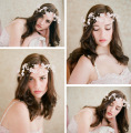 White Flower Bridal Headband Handmade Elegant Hairband Wedding Hair Accessories Pearl