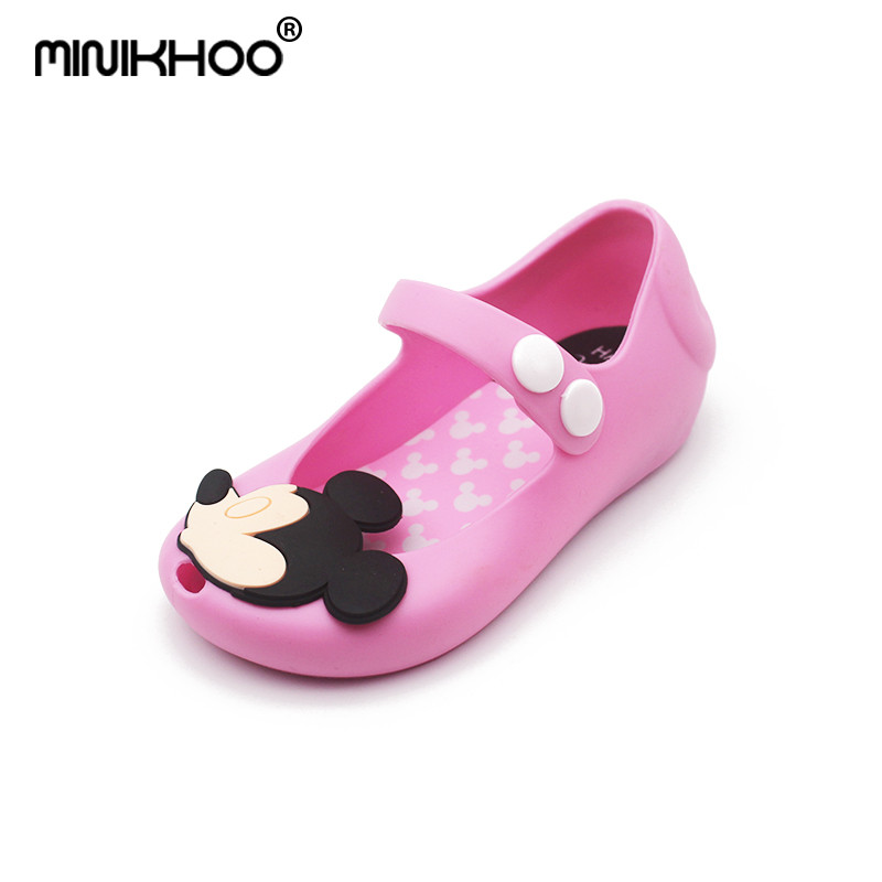 Mini Melissa 4 Color Mickey Girl Sandals Non-slip Girl Shoes Cheap Sandals For Kids Jelly Sandals Shoes High Quality